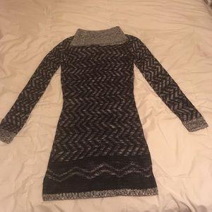 Black/Grey Turtleneck Long Sweater